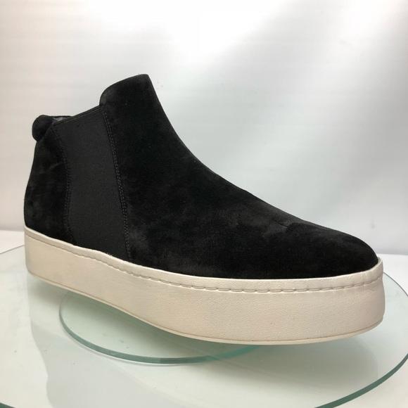 New VINCE Wade High Top Sneaker Black Leathr Suede